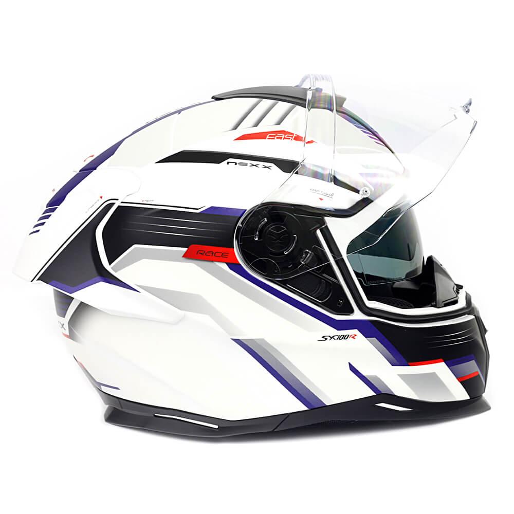 Capacete Nexx SX100R GRIDLINE BRANCO/AZUL Fosco C/ Viseira Solar - BRINDE Pinlock Anti-Embaçante  - Nova Suzuki Motos e Acessórios