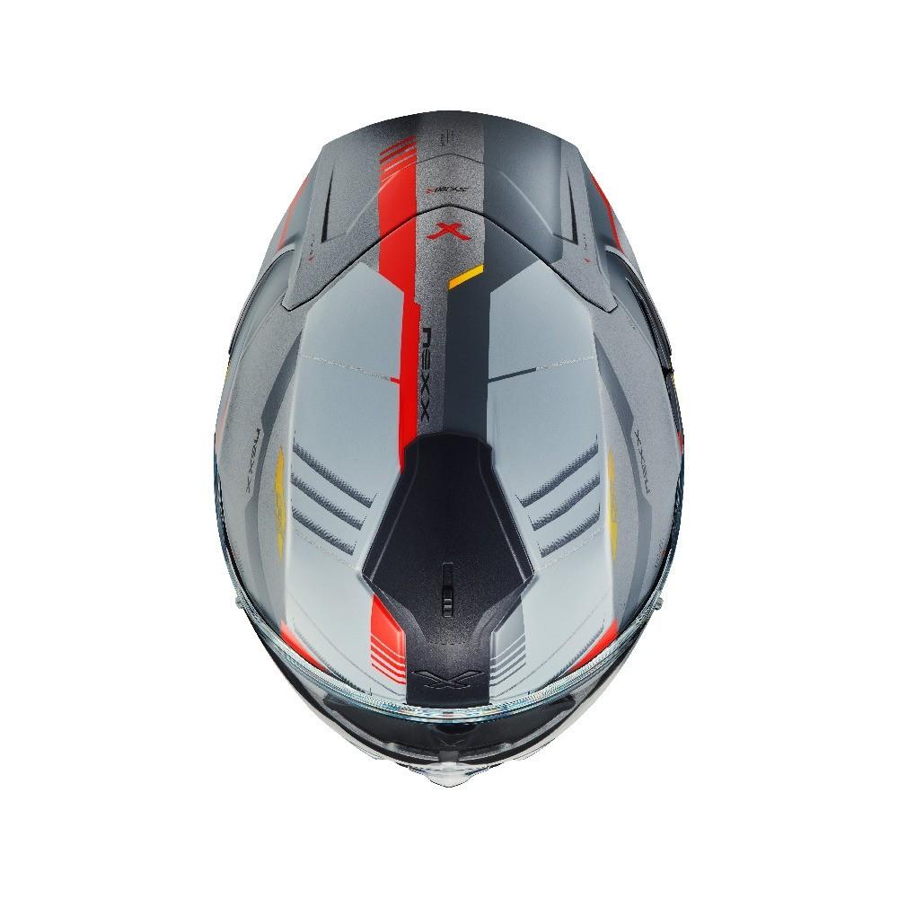 Capacete Nexx SX100R  GRIDLINE CINZA/VERMELHO Fosco C/ Viseira Solar - BRINDE Pinlock Anti-Embaçante  - Nova Suzuki Motos e Acessórios