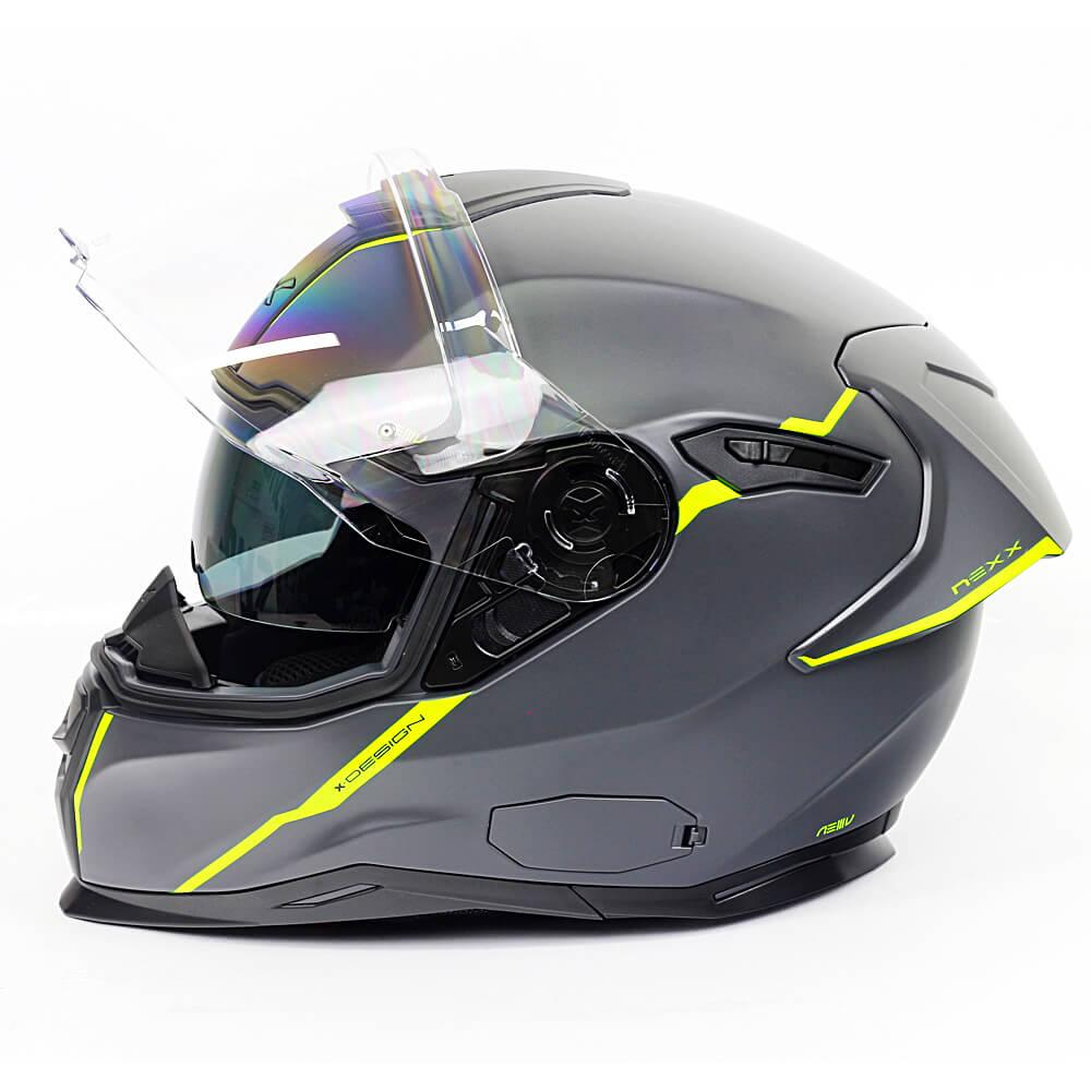 Capacete Nexx SX100R SHORTCUT CINZA/NEON Fosco C/ Viseira Solar - BRINDE Pinlock Anti-Embaçante  - Nova Suzuki Motos e Acessórios