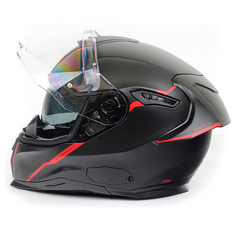 Capacete Nexx SX100R SHORTCUT PRETO/VERMELHO Fosco C/ Viseira Solar - BRINDE Pinlock Anti-Embaçante  - Nova Suzuki Motos e Acessórios