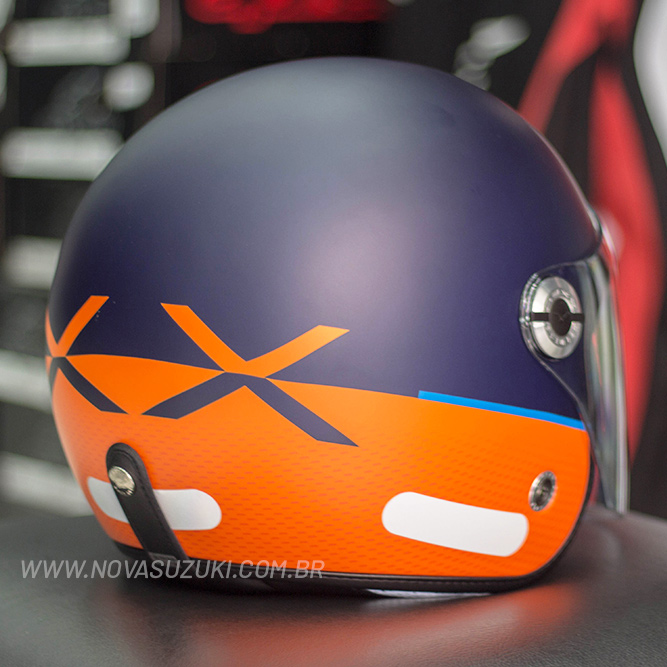 Capacete Nexx X70 City Azul/Laranja Fosco Tri-Composto - Aberto  - Nova Suzuki Motos e Acessórios