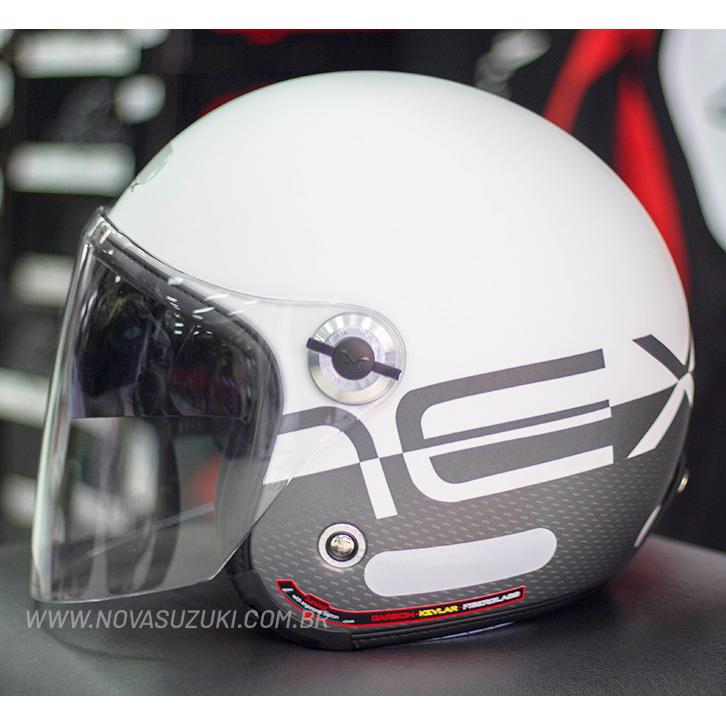 Capacete Nexx X70 City Branco/Cinza Fosco Tri-Composto - Aberto  - Nova Suzuki Motos e Acessórios
