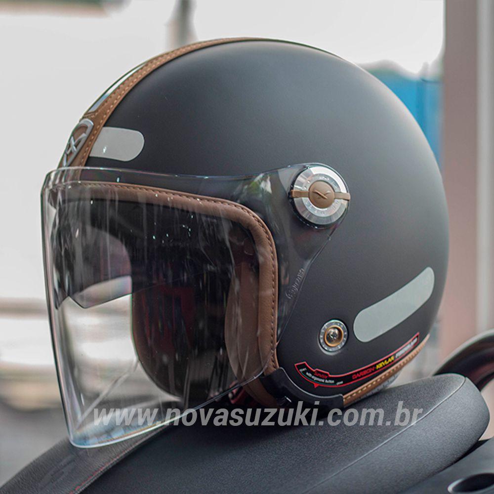 Capacete Nexx X70 Groovy Preto c/ Caramelo Tri-Composto - Aberto  - Nova Suzuki Motos e Acessórios