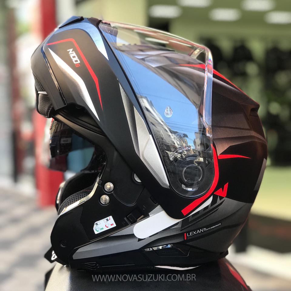 Capacete Nolan N100-5 Balteus Preto/Cinza/Vm 42 Articulado/Escamoteável (Force)  - Nova Suzuki Motos e Acessórios