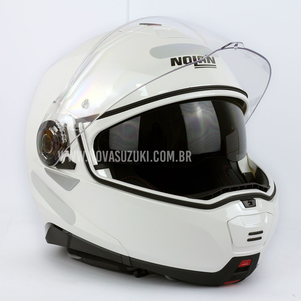 Capacete Nolan N100-5 Classic Branco (10) Articulado/Escamoteável  - Nova Suzuki Motos e Acessórios