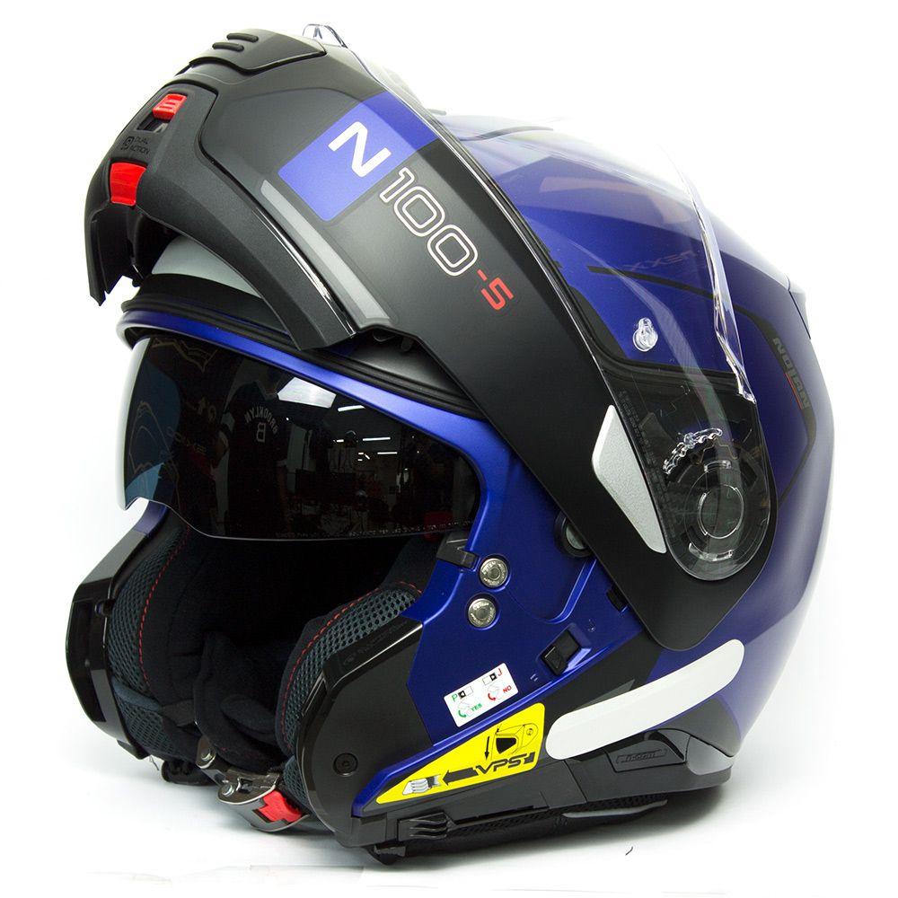 Capacete Nolan N100-5 Consistency Azul Fosco (24) - Articulado C/ Viseira Solar - Ganhe Touca Balaclava   - Nova Suzuki Motos e Acessórios
