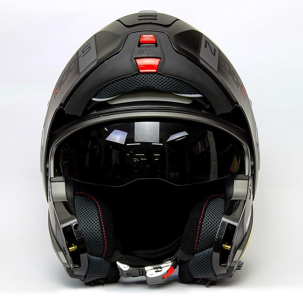 Capacete Nolan N100-5 Consistency Cinza Fosco (20) - Articulado C/ Viseira Solar - Ganhe Touca Balaclava   - Nova Suzuki Motos e Acessórios