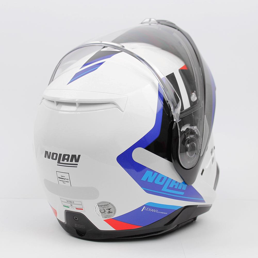 Capacete Nolan N100-5 Hilltop Branco/AZ/Preto 49 Articulado/Escamoteável  - Nova Suzuki Motos e Acessórios