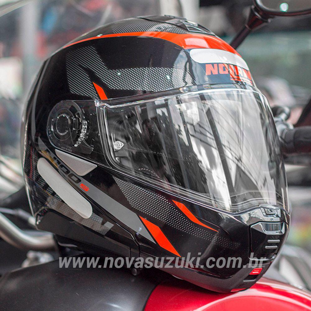 Capacete Nolan N100-5 Lumiere Vermelho (39) - Articulado C/ Viseira Solar - Ganhe Touca Balaclava  - Nova Suzuki Motos e Acessórios