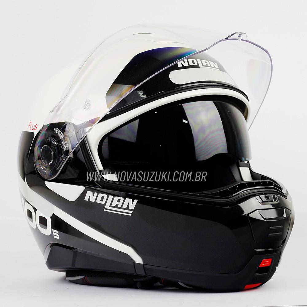 Capacete Nolan N100-5 Plus Distinctive Branco/Preto (22) - Articulado C/ Viseira Solar - Ganhe Touca Balaclava   - Nova Suzuki Motos e Acessórios