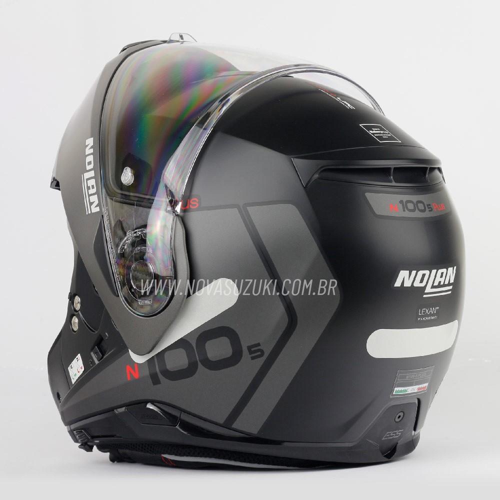 Capacete Nolan N100-5 Plus Distinctive Cinza/Preto (21) - Articulado C/ Viseira Solar - Ganhe Touca Balaclava  - Nova Suzuki Motos e Acessórios