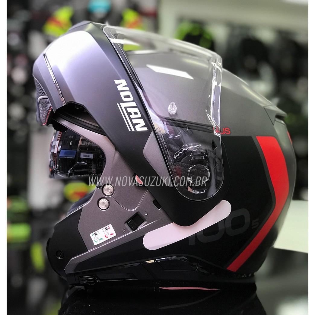 Capacete Nolan N100-5 Plus Distinctive Cinza/Vermelho (24) - Articulado C/ Viseira Solar - Ganhe Touca Balaclava   - Nova Suzuki Motos e Acessórios