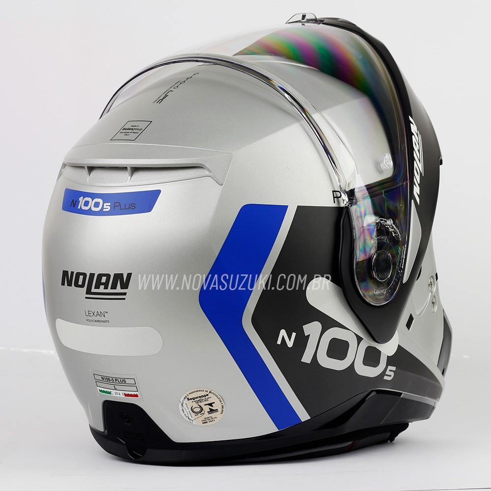 Capacete Nolan N100-5 Plus Distinctive Prata/Cinza/Azul 30 - Articulado C/ Viseira Solar - Ganhe Touca Balaclava  - Nova Suzuki Motos e Acessórios