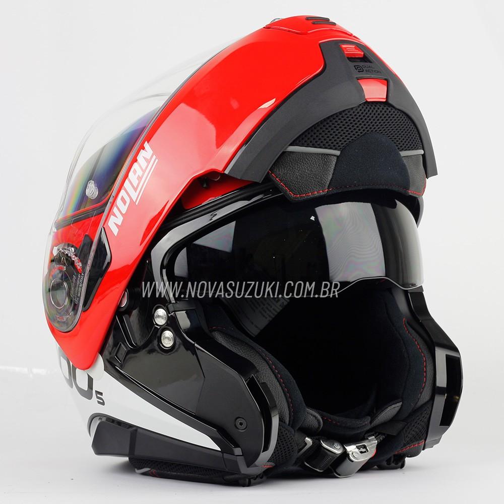 Capacete Nolan N100-5 Plus Distinctive Preto/VM/Branco (27) - Articulado C/ Viseira Solar - Ganhe Touca Balaclava   - Nova Suzuki Motos e Acessórios