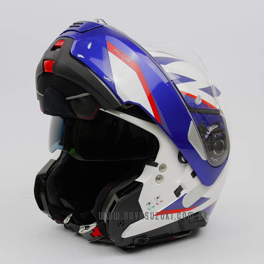 Capacete Nolan N100-5 Plus Overland Branco/Vermelho/Azul (36) - Articulado C/ Viseira Solar - Ganhe Touca Balaclava  - Nova Suzuki Motos e Acessórios