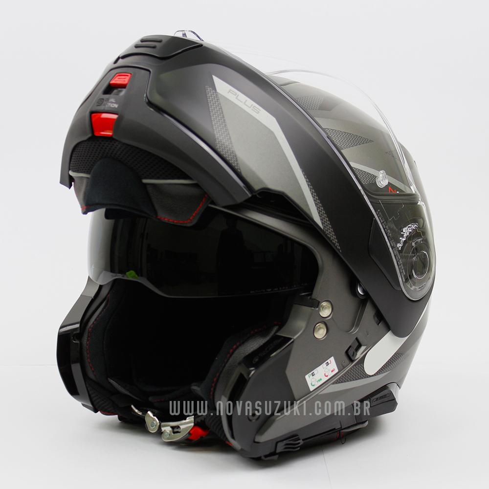 Capacete Nolan N100-5 Plus Overland Cinza/Preto Fosco (31) - Articulado C/ Viseira Solar - Ganhe Touca Balaclava  - Nova Suzuki Motos e Acessórios