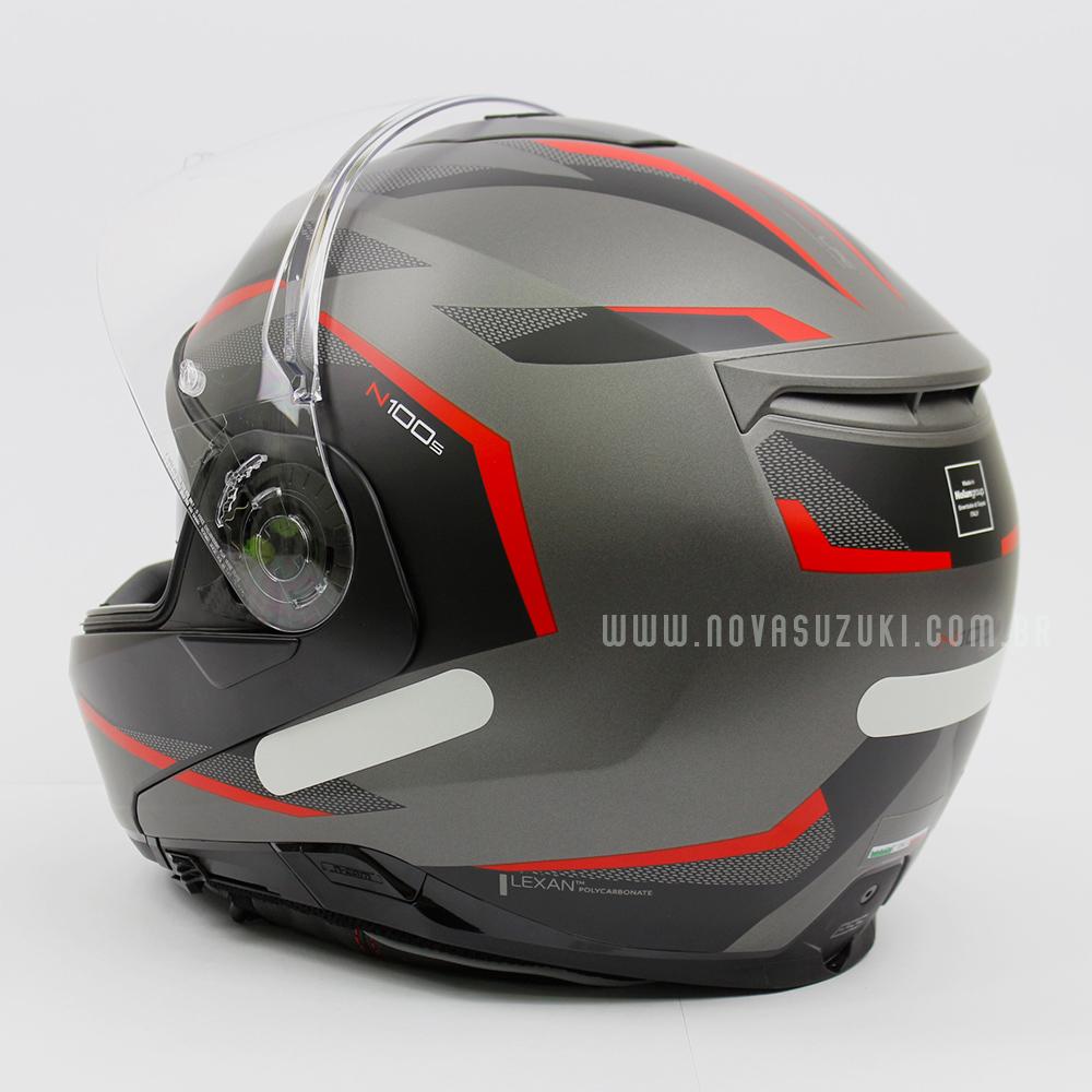 Capacete Nolan N100-5 Plus Overland Cinza/Vermelho Fosco (32) - Articulado C/ Viseira Solar - Ganhe Touca Balaclava  - Nova Suzuki Motos e Acessórios