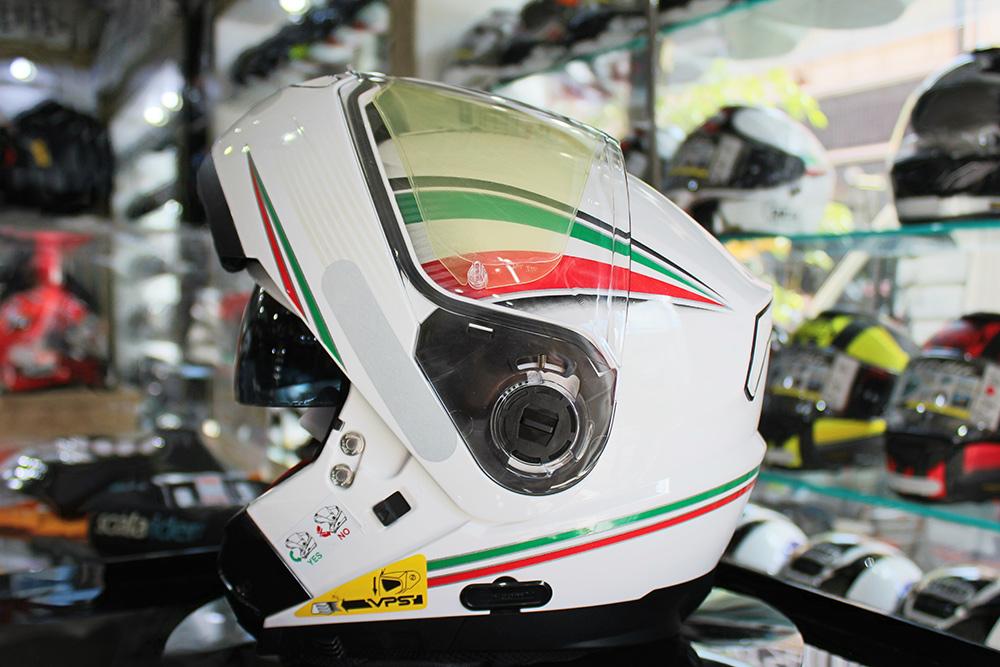 Capacete Nolan N104 Absolut Itália Branco Escamoteável C/ Viseira Solar Interna - Ganhe Balaclava Exclusiva!  - Nova Suzuki Motos e Acessórios