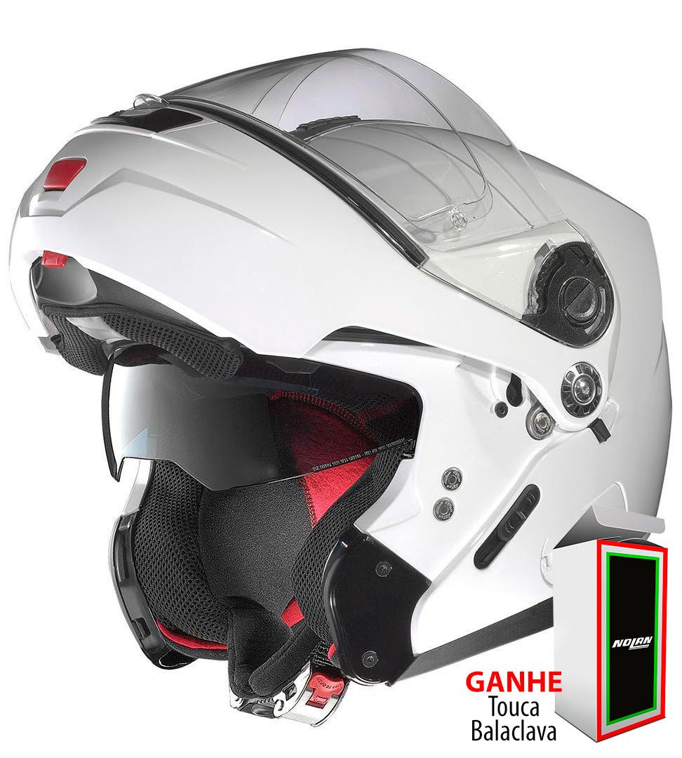 Capacete Nolan N104 Absolute Classic Metal White N-Com Escamoteável - Ganhe Balaclava Exclusiva!  - Nova Suzuki Motos e Acessórios