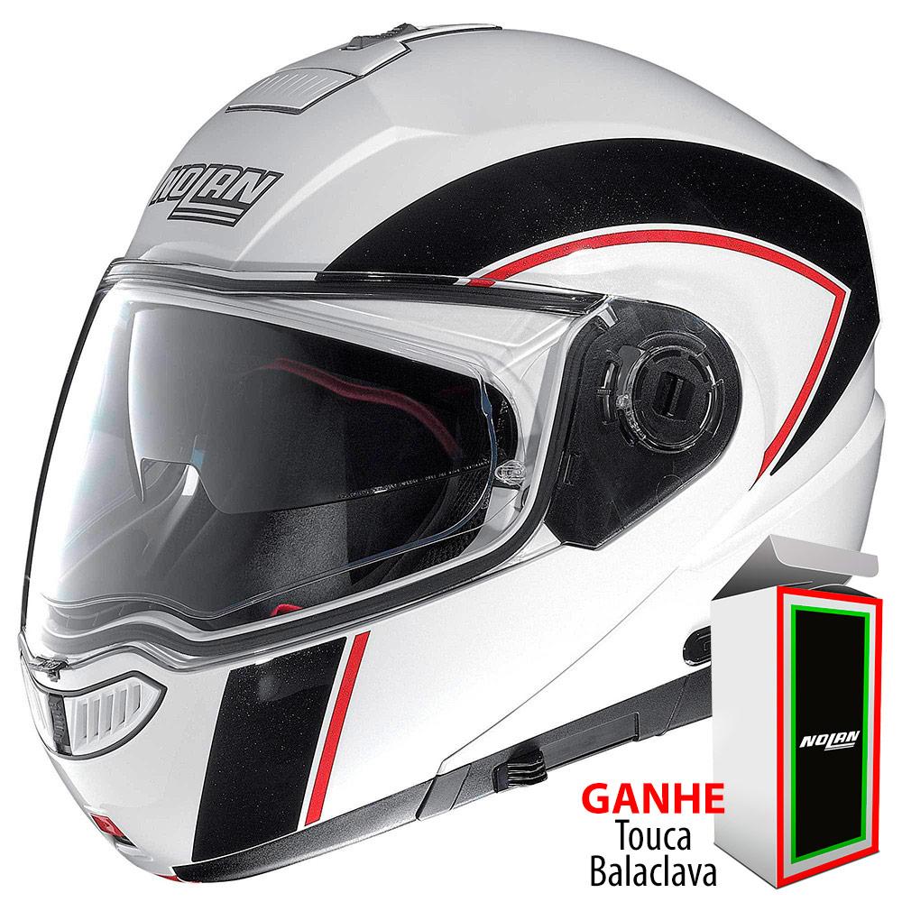 Capacete Nolan N104 Evo Scovery White/Black-Red Escamoteável (Com Vídeo)- Ganhe Balaclava Exclusiva!  - Nova Suzuki Motos e Acessórios