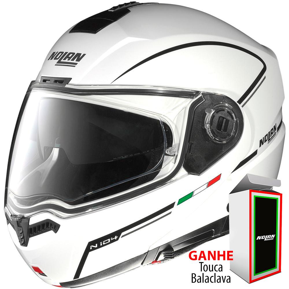 Capacete Nolan N104 Evo Storm N-Com METAL WHITE Escamoteável - Ganhe Balaclava Exclusiva!  - Nova Suzuki Motos e Acessórios