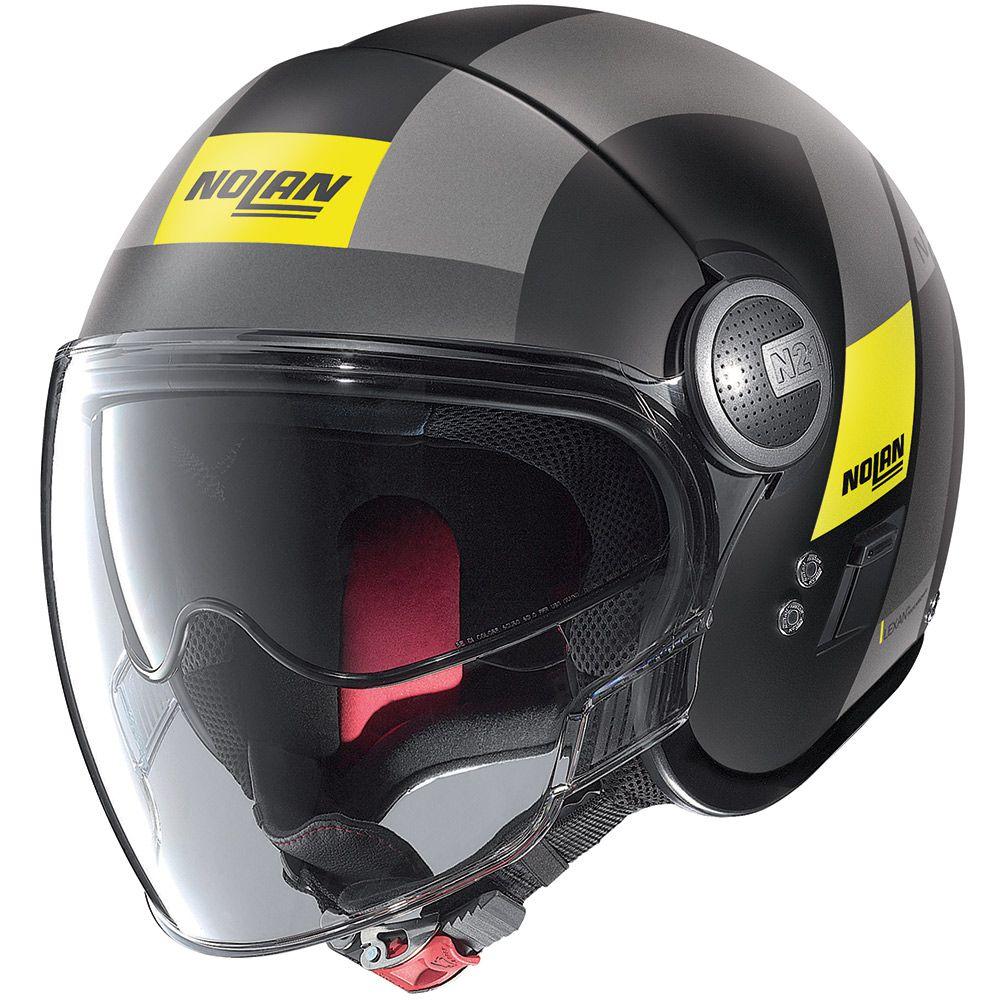 Capacete Nolan N21 Spheroid Flat Black Amarelo (49) - Aberto C/ Viseira Solar Interna (AGV Blade)   - Nova Suzuki Motos e Acessórios