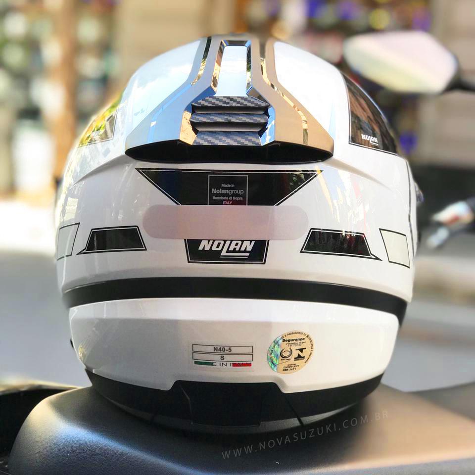 Capacete Nolan N40-5 Beltway Branco/Cinza 21 - Aberto Com Viseira Solar  - Nova Suzuki Motos e Acessórios