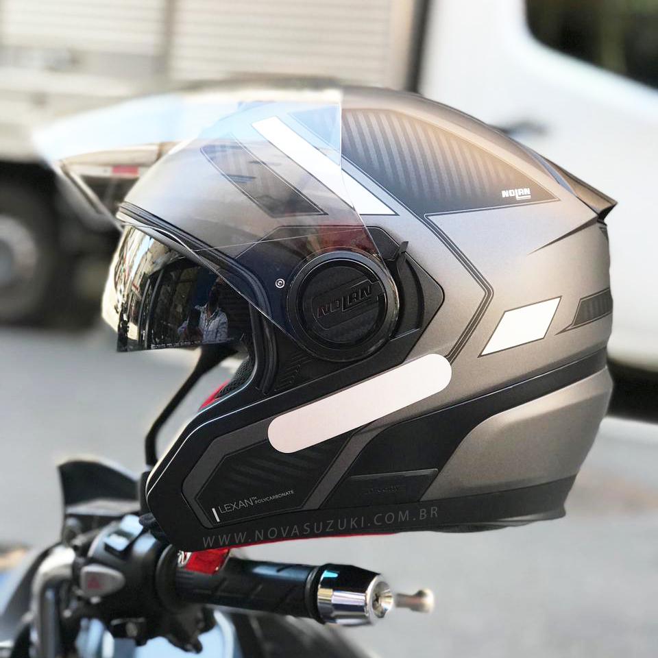 Capacete Nolan N40-5 Beltway Cinza/Preto 20 - Aberto Com Viseira Solar  - Nova Suzuki Motos e Acessórios