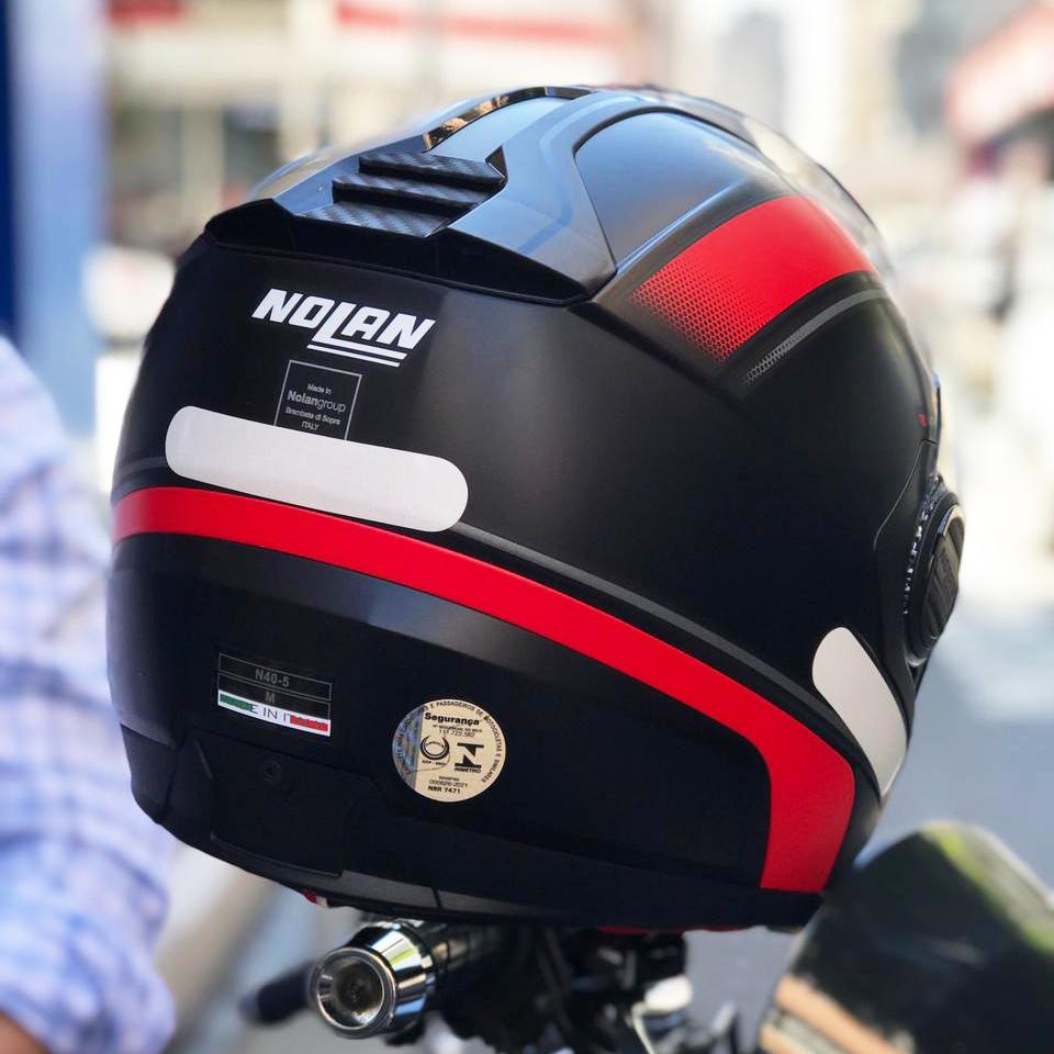 Capacete Nolan N40-5 Resolute Preto/Vermelho 17 - Aberto Com Viseira Solar  - Nova Suzuki Motos e Acessórios