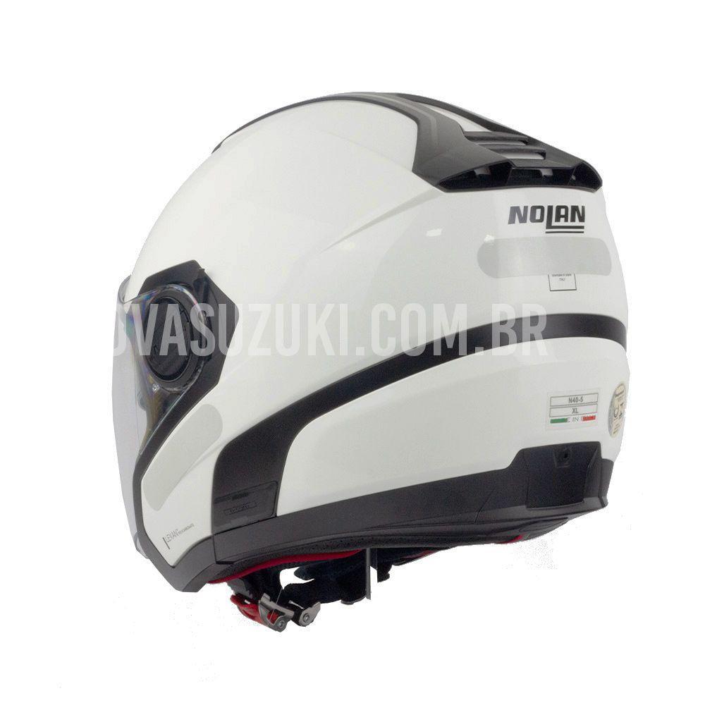Capacete Nolan N40-5 Special Branco (15) - Aberto Com Viseira Solar  - Nova Suzuki Motos e Acessórios