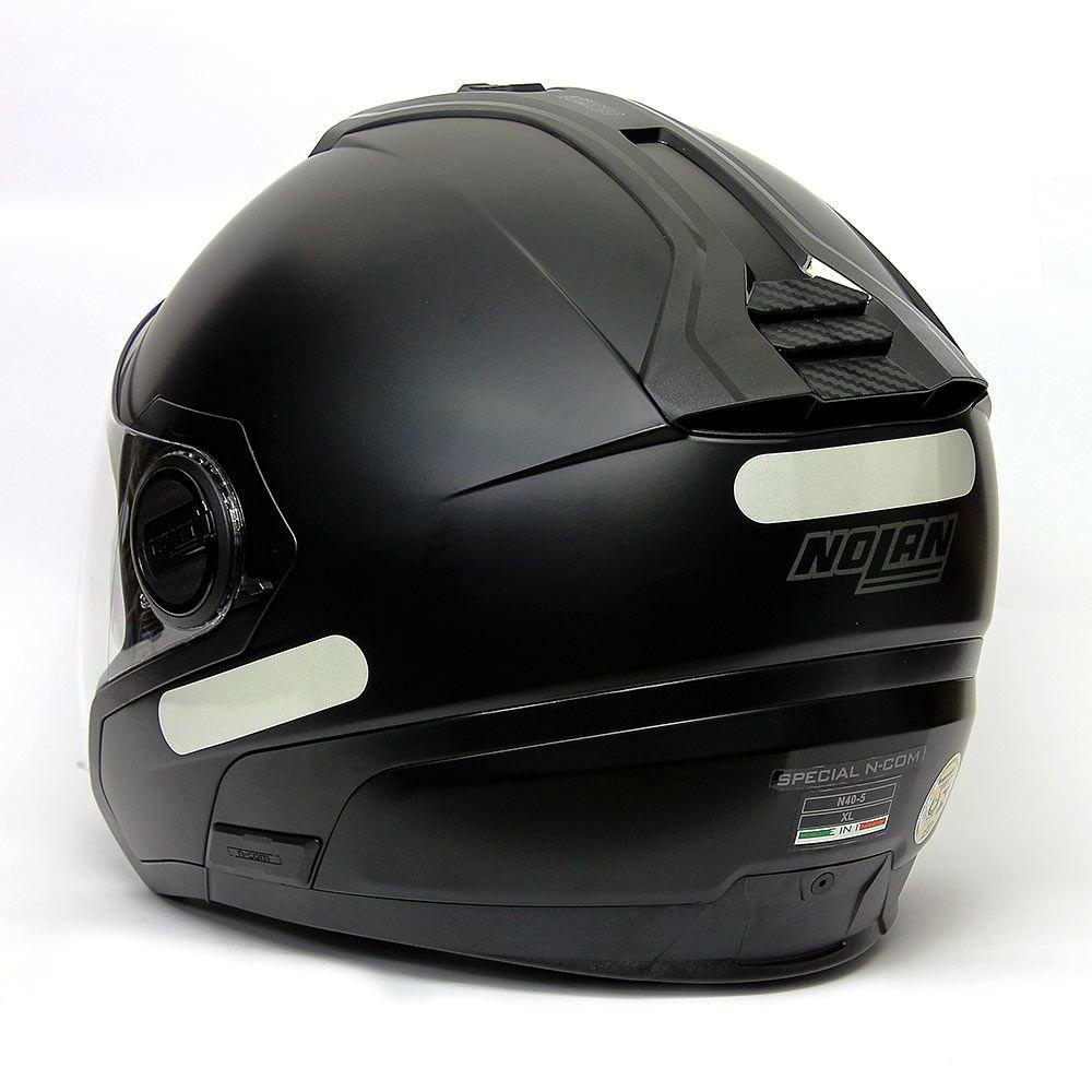 Capacete Nolan N40-5 Special Preto Fosco (13) - Aberto Com Viseira Solar  - Nova Suzuki Motos e Acessórios