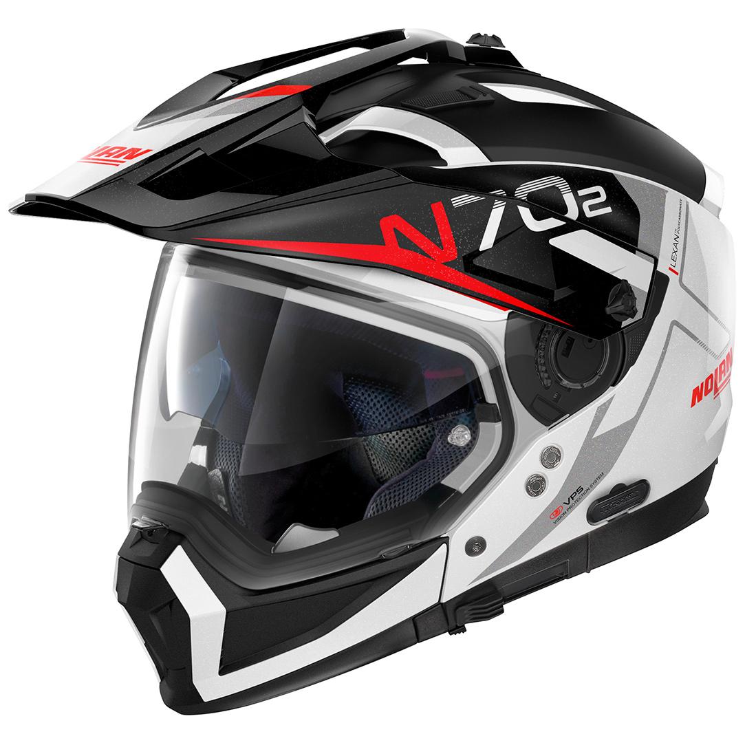 Capacete Nolan N70-2X BUNGEE Branco/Vermelho (39) - Big Trail / Off Road - Remove queixo  - Nova Suzuki Motos e Acessórios