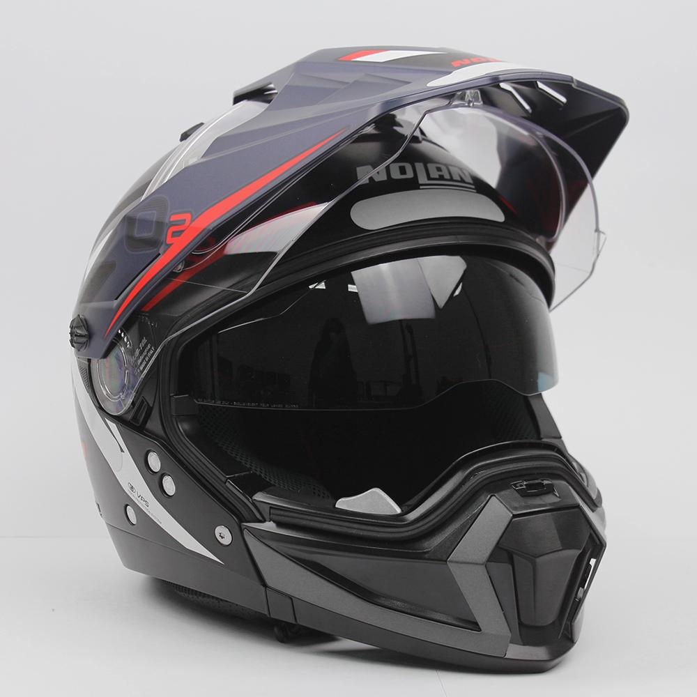 Capacete Nolan N70-2X BUNGEE Preto/Azul (38) - Big Trail / Off Road - Remove queixo  - Nova Suzuki Motos e Acessórios