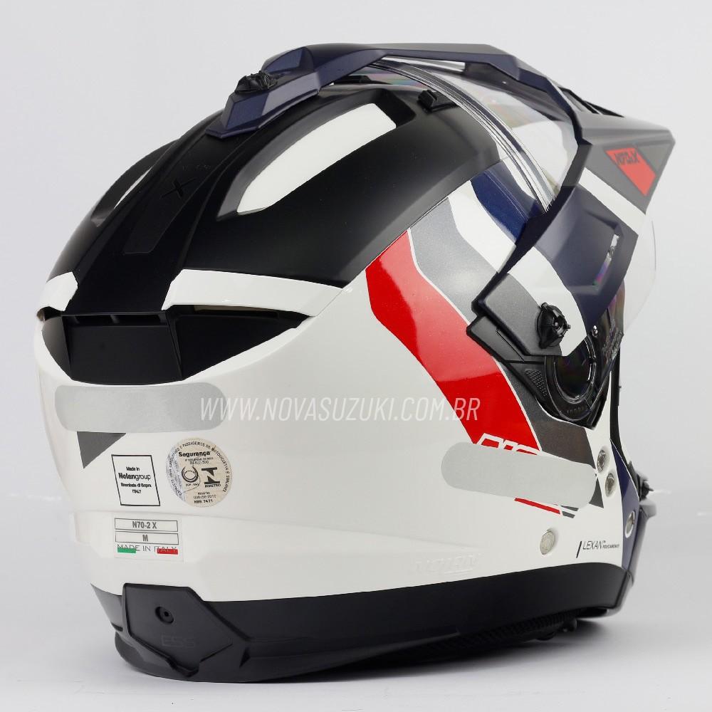 Capacete Nolan N70-2X Decurio Azul/Preto/Vermelho (33) - Big Trail / Off Road - Remove queixo  - Nova Suzuki Motos e Acessórios