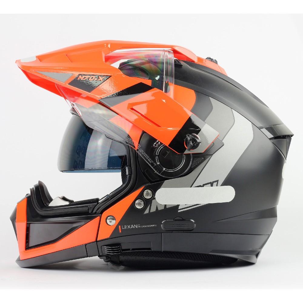 Capacete Nolan N70-2X Decurio Cinza/Laranja (31) - Big Trail / Off Road - Remove queixo  - Nova Suzuki Motos e Acessórios