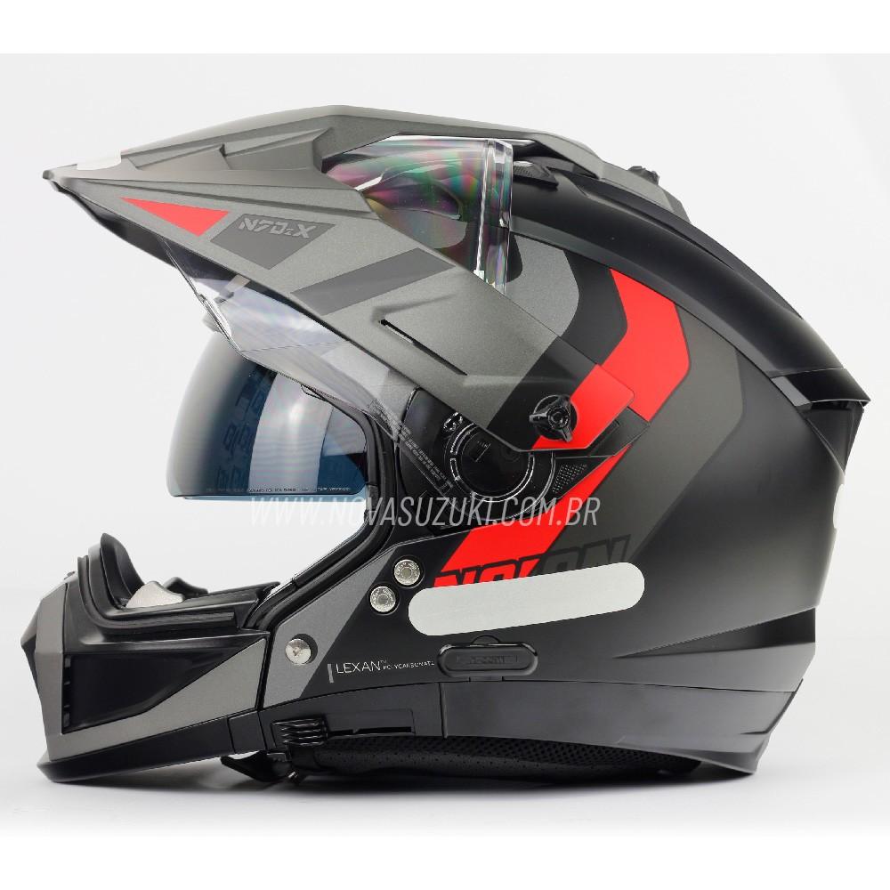 Capacete Nolan N70-2X Decurio Cinza/Vermelho (29) - Big Trail / Off Road - Remove queixo  - Nova Suzuki Motos e Acessórios