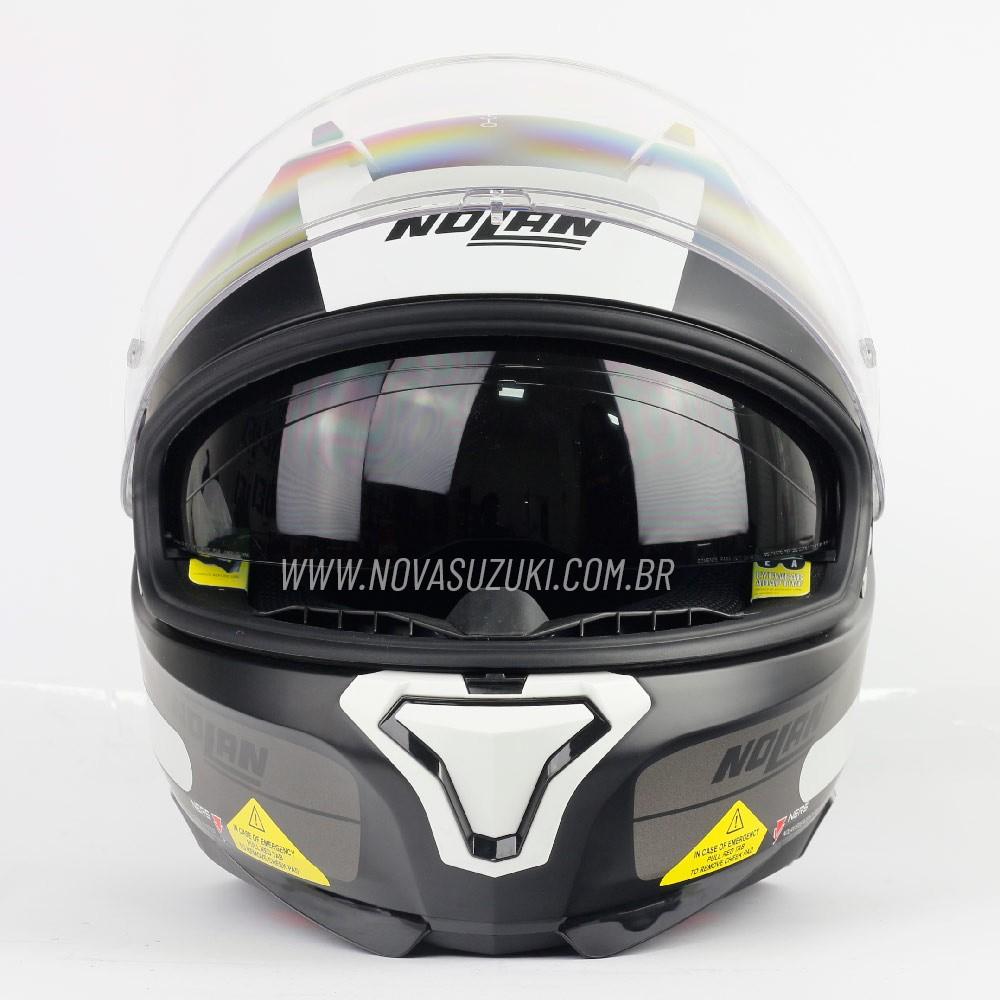 Capacete Nolan N87 Plus Distinctive Preto/CZ/BR (23) C/ Viseira Solar - Ganhe Touca Balaclava (AGV K1 / K3 SV)  - Nova Suzuki Motos e Acessórios