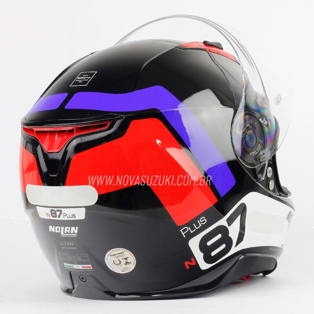 Capacete Nolan N87 Plus Distinctive Tricolor Branco/Azul/Vermelho (28) C/ Viseira Solar - Ganhe Touca Balaclava (AGV K1 / K3 SV)  - Nova Suzuki Motos e Acessórios