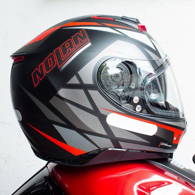 Capacete Nolan N87 Originality Vermelho Fosco (69) C/ Viseira Solar - Ganhe Touca Balaclava (AGV K1 / K3 SV)  - Nova Suzuki Motos e Acessórios