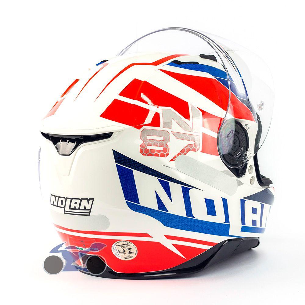 Capacete Nolan N87 Plein Air Az/Vm/BR c/ Viseira Solar - Ganhe Touca Balaclava (AGV K1 / K3 SV)  - Nova Suzuki Motos e Acessórios