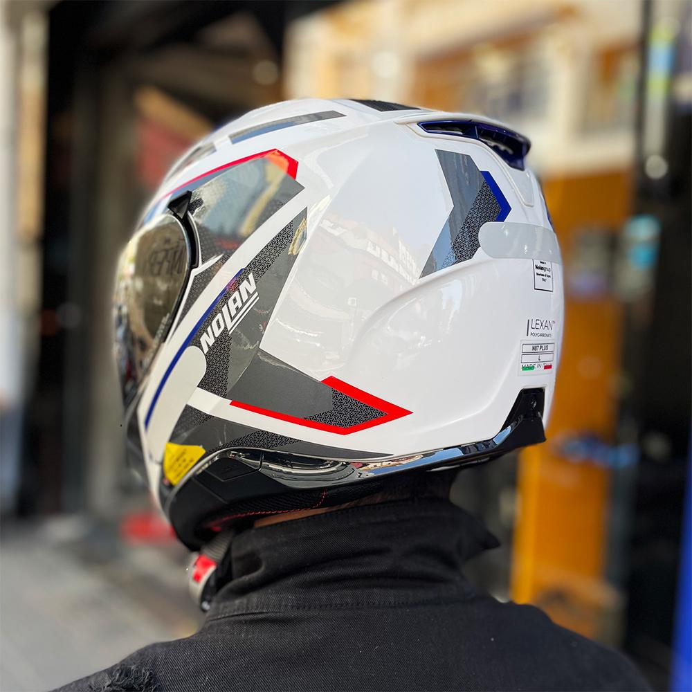 Capacete Nolan N87 Plus Overland Branco/Vermelho/Azul (36) C/ Viseira Solar - Ganhe Touca Balaclava (AGV K1 / K3 SV)  - Nova Suzuki Motos e Acessórios