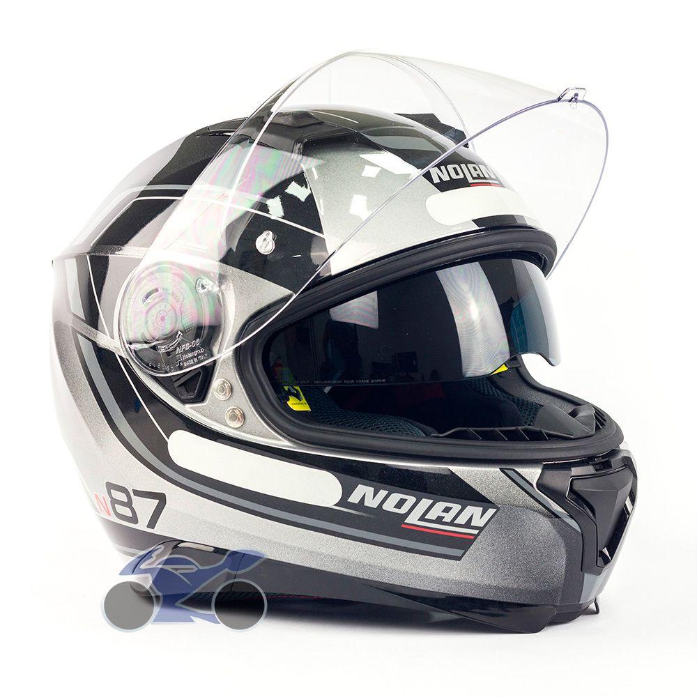 Capacete Nolan N87 Savoir Faire Antracite c/ Viseira Solar - Ganhe Touca Balaclava (AGV K1 / K3 SV)  - Nova Suzuki Motos e Acessórios