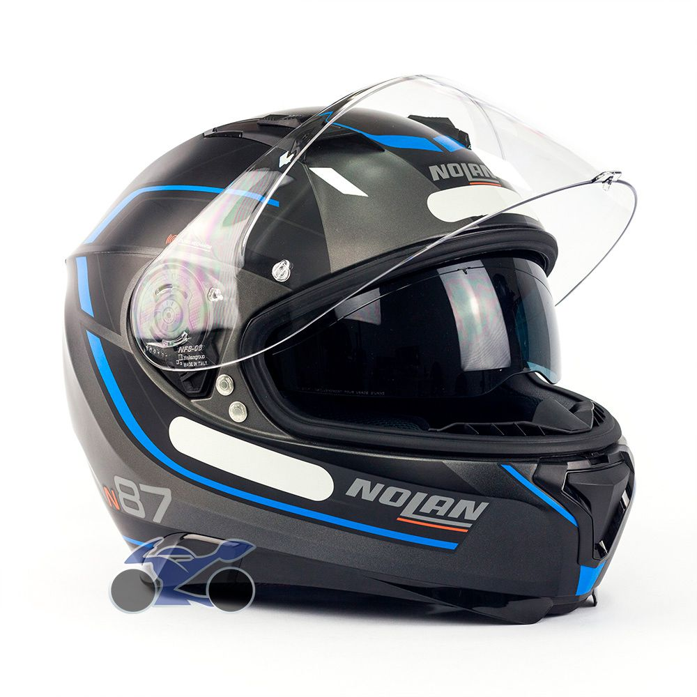 Capacete Nolan N87 Savoir Faire Azul c/ Viseira Solar - Ganhe Touca Balaclava (AGV K1 / K3 SV)  - Nova Suzuki Motos e Acessórios