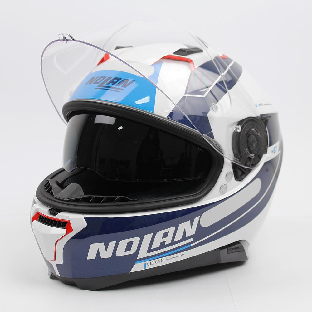 Capacete Nolan N87 Skilled Branco/Azul (99) C/ Viseira Solar - Ganhe Touca Balaclava (AGV K1 / K3 SV)  - Nova Suzuki Motos e Acessórios