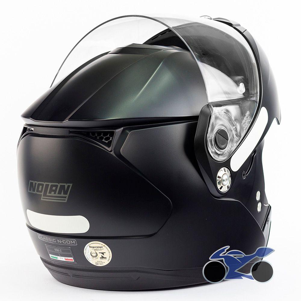 Capacete Nolan N90-2 Classic Preto Fosco (10) - Escamoteável C/ Viseira Solar Interna (GANHE BALACLAVA NOLAN)   - Nova Suzuki Motos e Acessórios