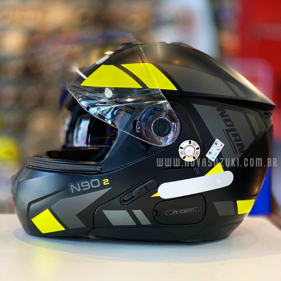 Capacete Nolan N90-2 Euclid Amarelo Fosco (27) - Escamoteável C/ Viseira Solar Interna - GANHE BALACLAVA NOLAN  - Nova Suzuki Motos e Acessórios