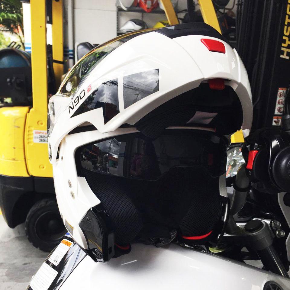 CAPACETE NOLAN N90-2 EUCLID BRANCO (28) - Escamoteável C/ Viseira Solar Interna - GANHE BALACLAVA NOLAN  - Nova Suzuki Motos e Acessórios
