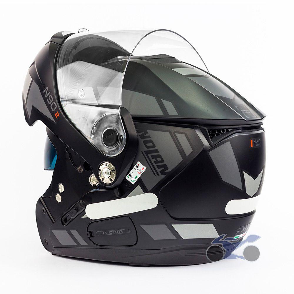 Capacete Nolan N90-2 Euclid Cinza Fosco (26) - Escamoteável C/ Viseira Solar Interna - GANHE BALACLAVA NOLAN  - Nova Suzuki Motos e Acessórios