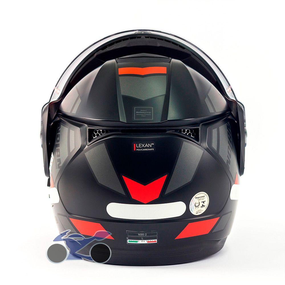 Capacete Nolan N90-2 Euclid Vermelho Fosco (25) - Escamoteável C/ Viseira Solar Interna - GANHE BALACLAVA NOLAN  - Nova Suzuki Motos e Acessórios