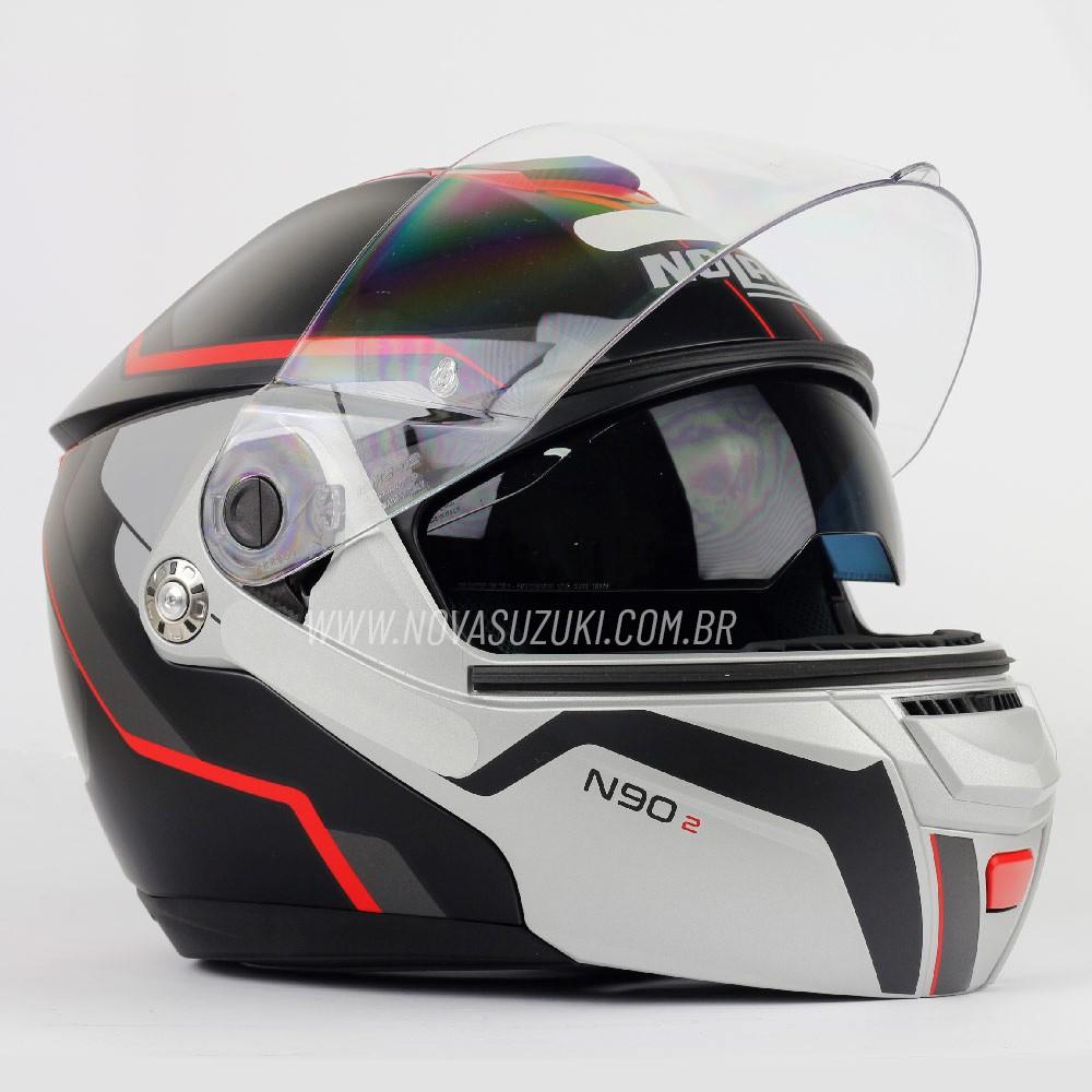 Capacete Nolan N90 Meridianus Preto/Prata/Vm 29 Escamoteável C/ Viseira Solar Interna (GANHE BALACLAVA NOLAN)   - Nova Suzuki Motos e Acessórios